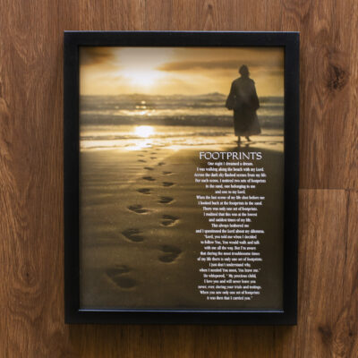 Footprints Poem Wood Framed Wall Art