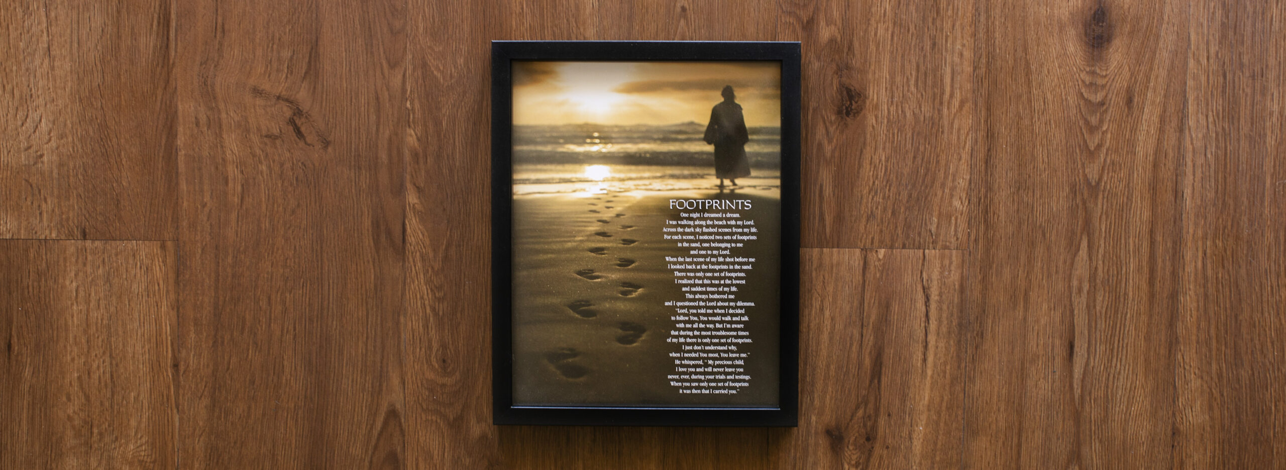 Footprints Poem Wood Framed Wall Art