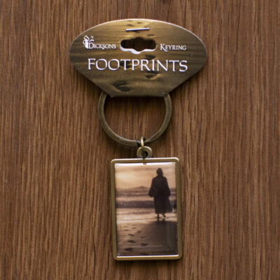 Footsteps Gold Metal Keychain